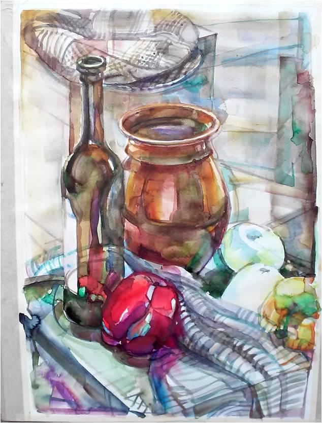 Almabor - Csendélet - akvarell