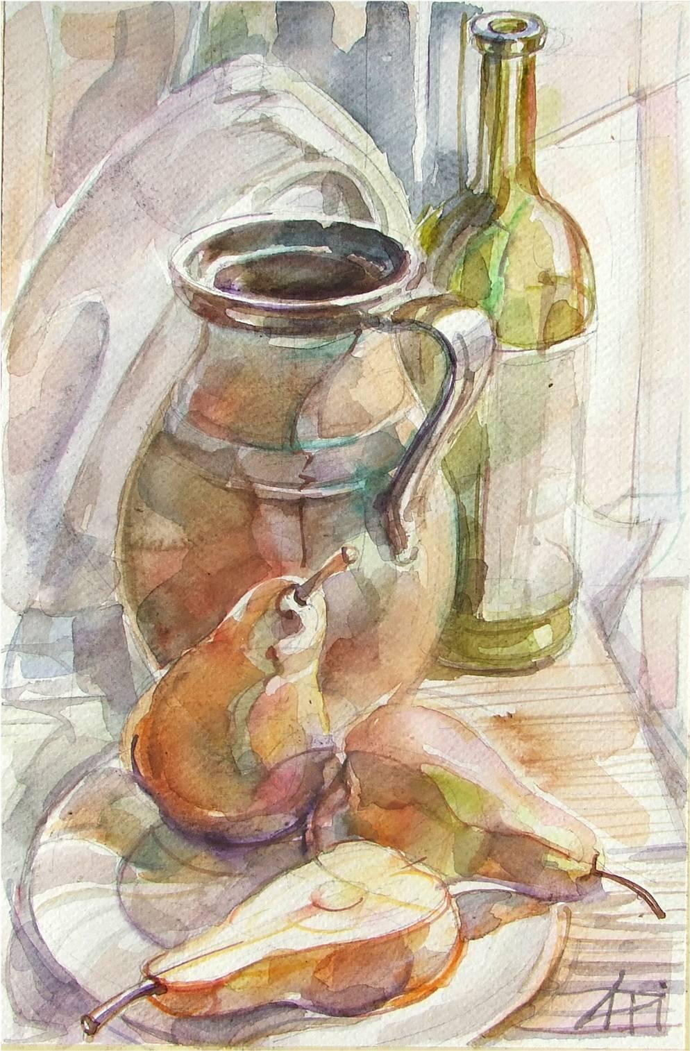 Körte és bor - Csendélet - akvarell