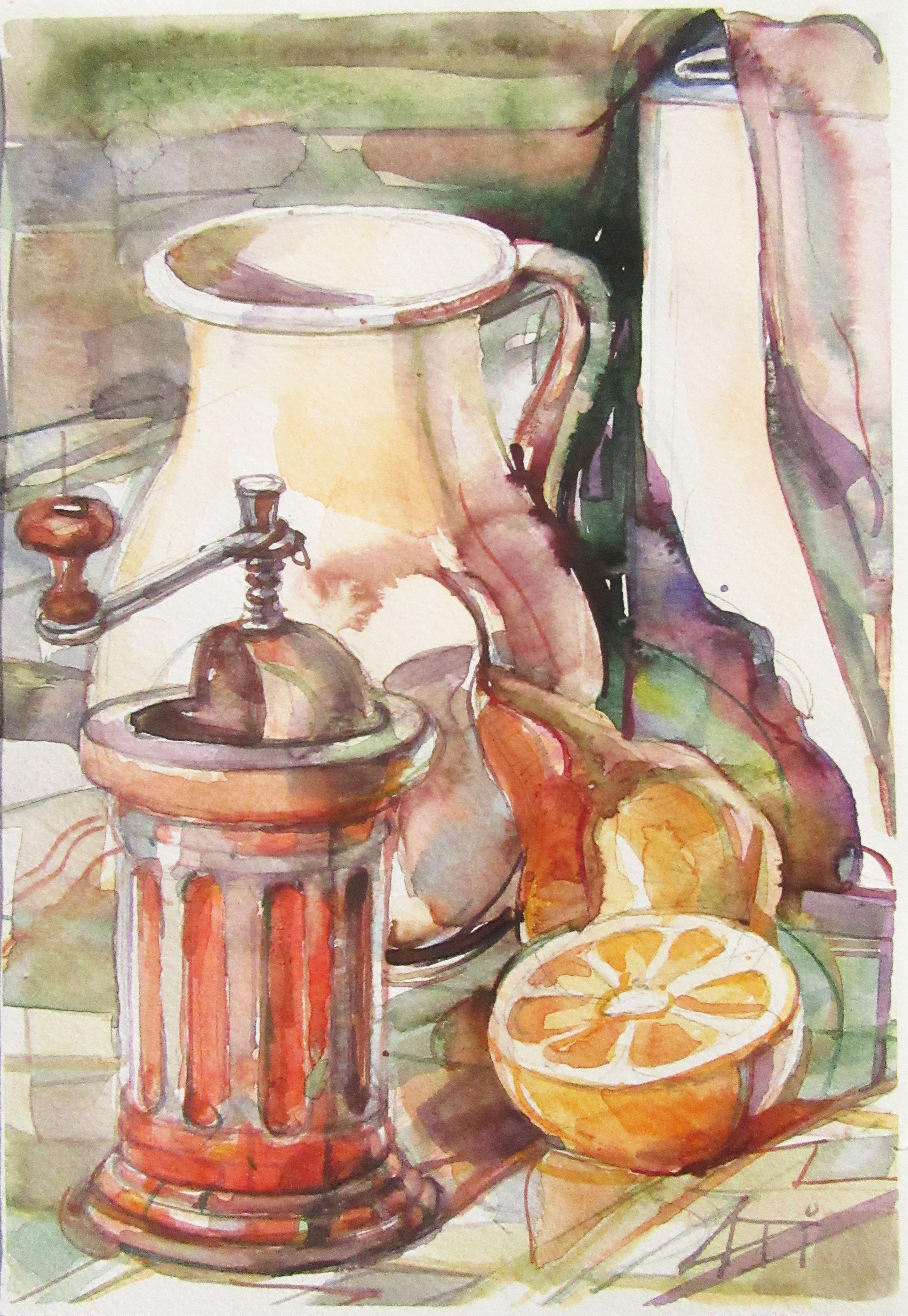Narancsos kép - Csendélet - akvarell