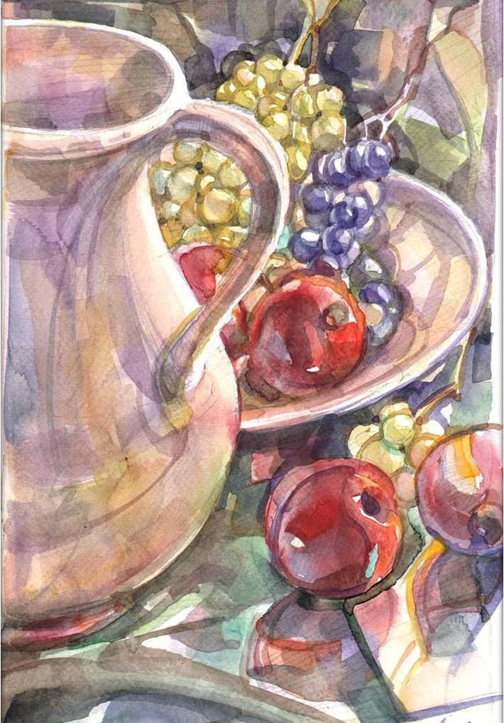 Szõlõ és alma - Csendélet - akvarell