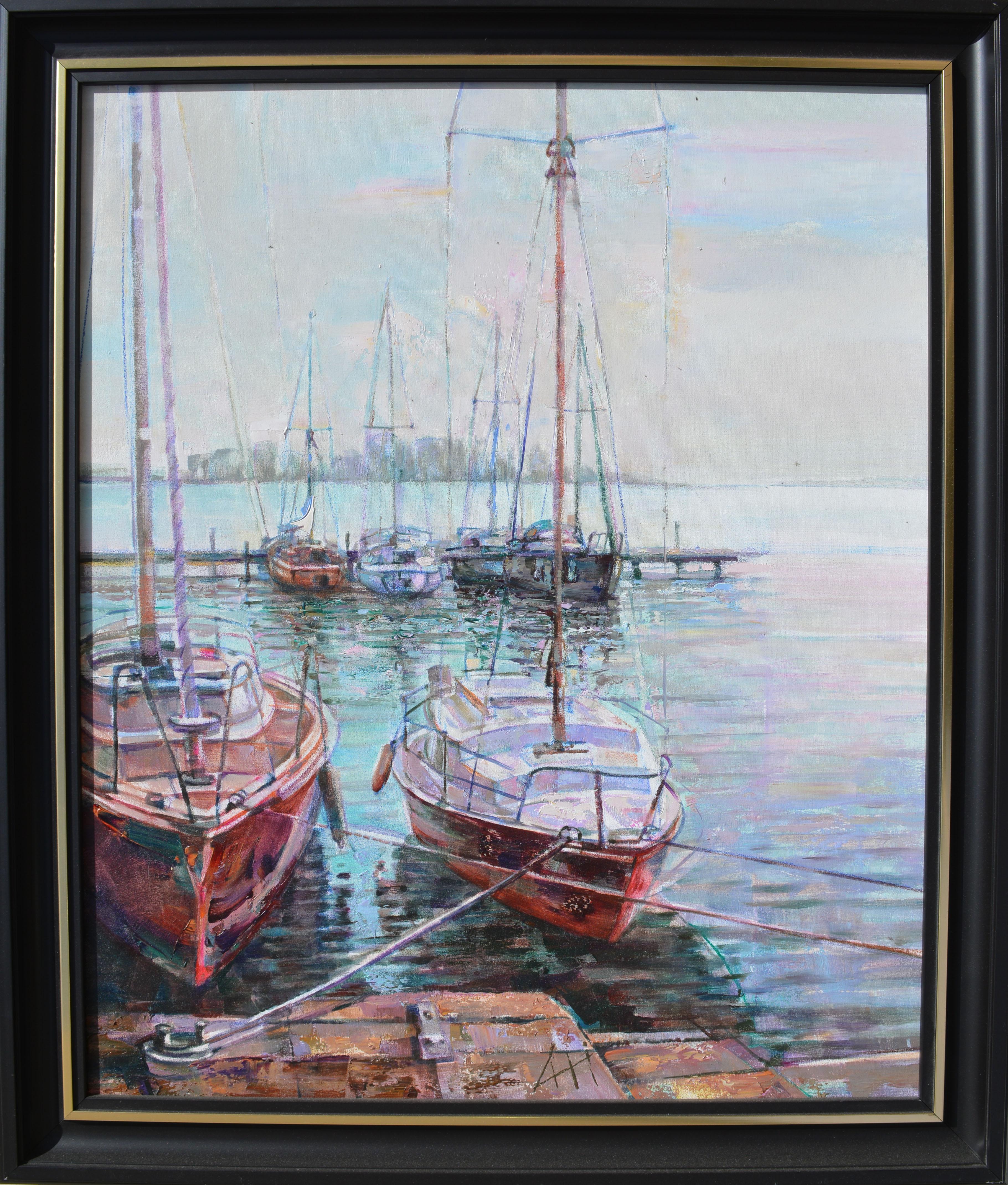 Piros hajók - Tájkép - olaj/vászon