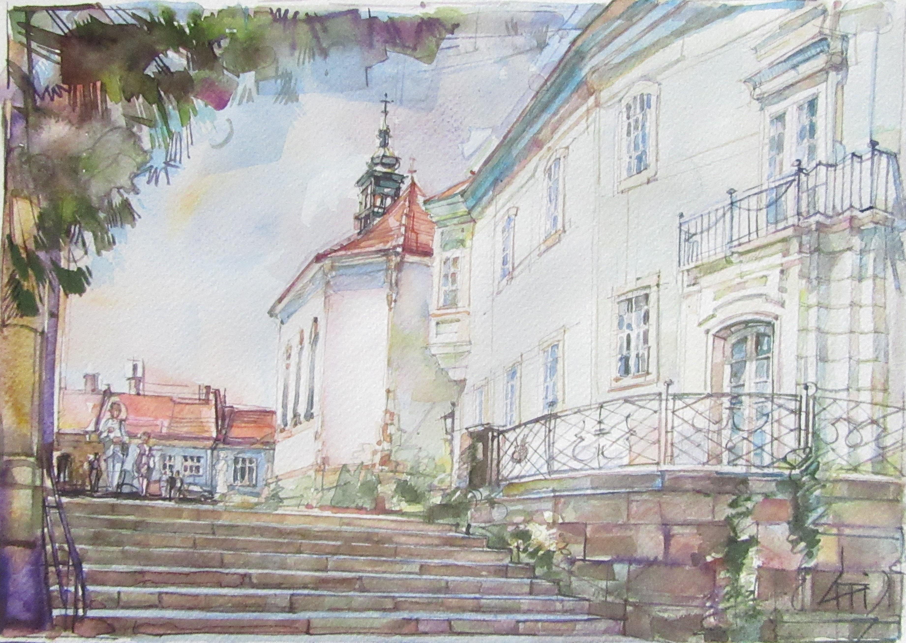 A Bazilika lépcsõi - Városkép - akvarell