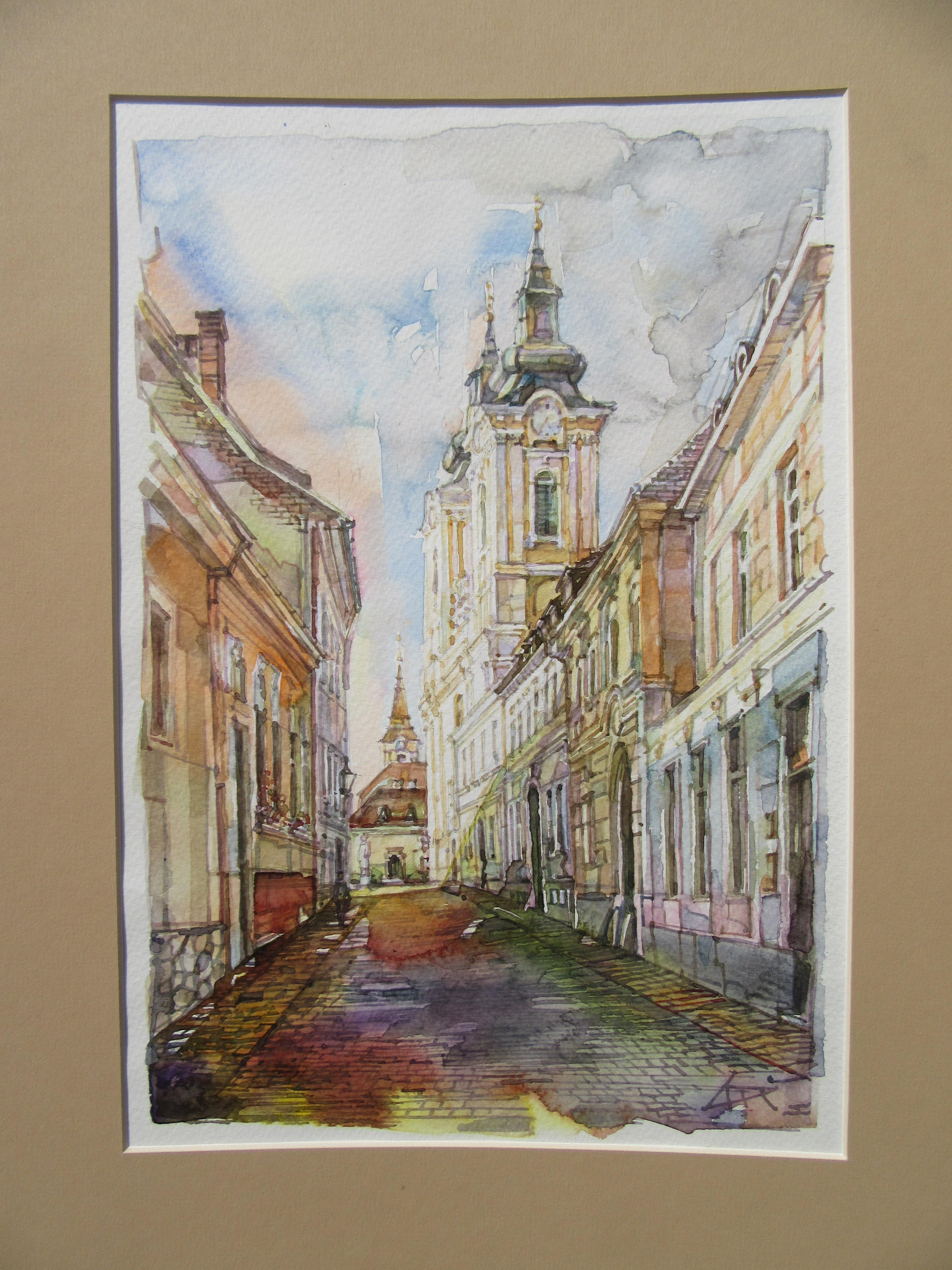 Arany János utca - Városkép - akvarell