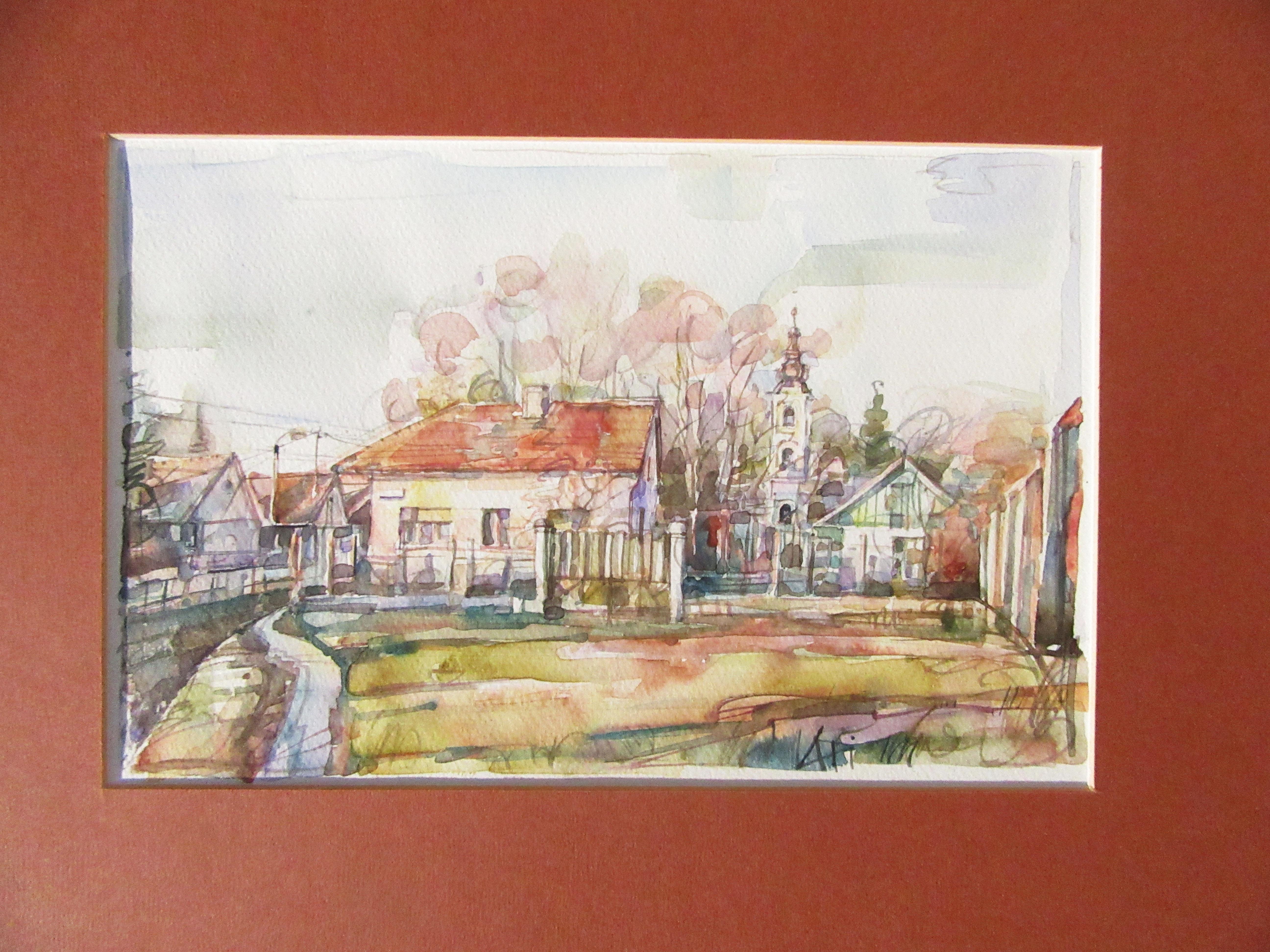 Kis utca - Városkép - akvarell