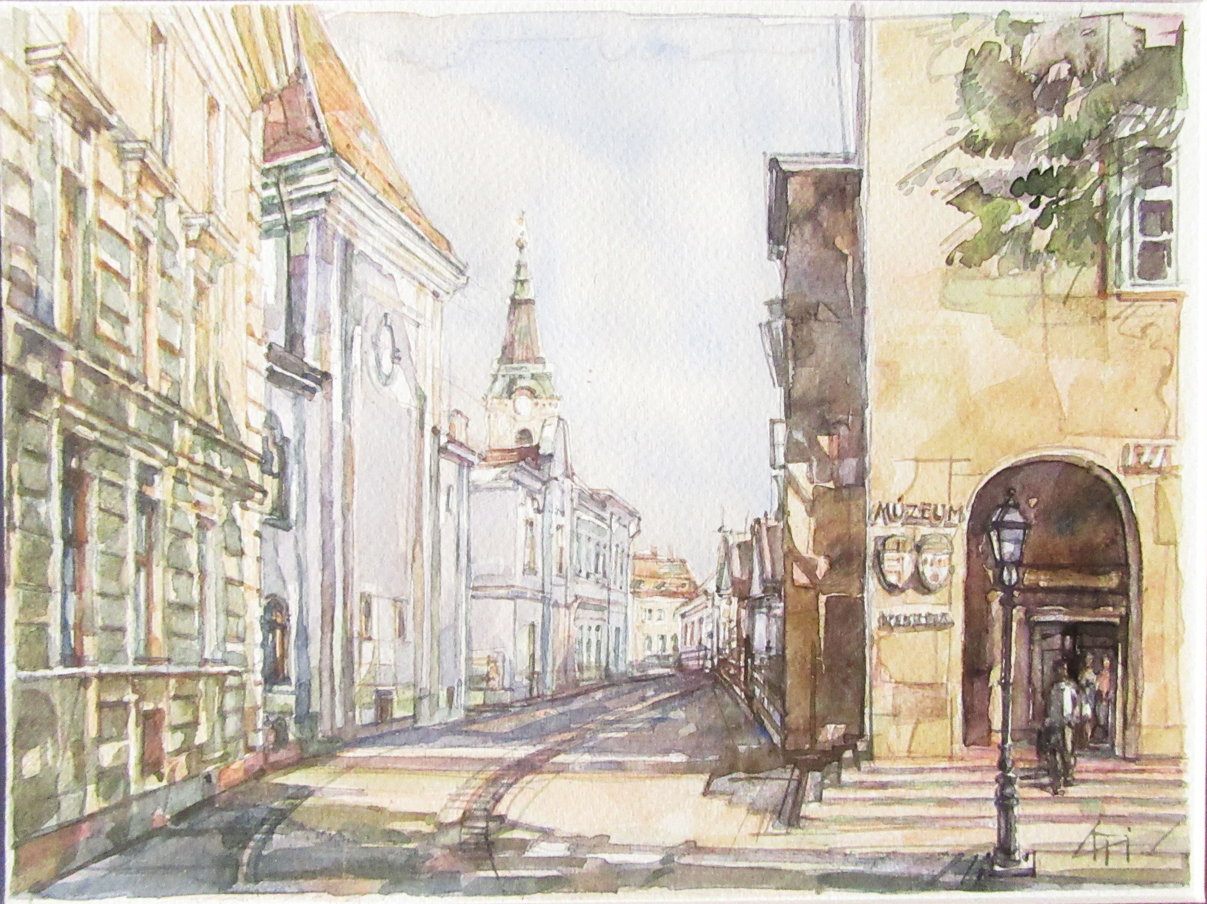 Mindjárt elérem - Városkép - akvarell