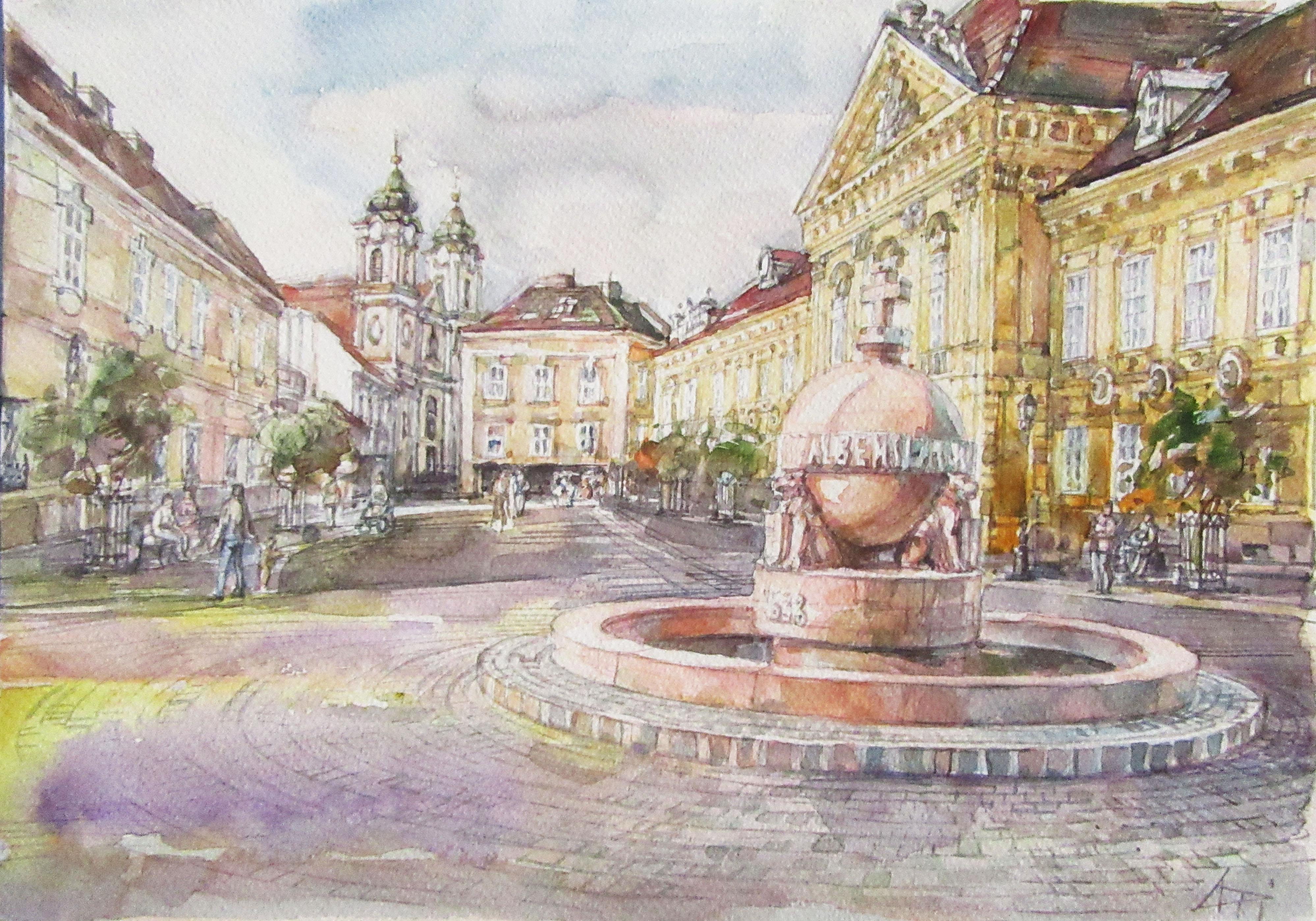 Országalma - Városkép - akvarell